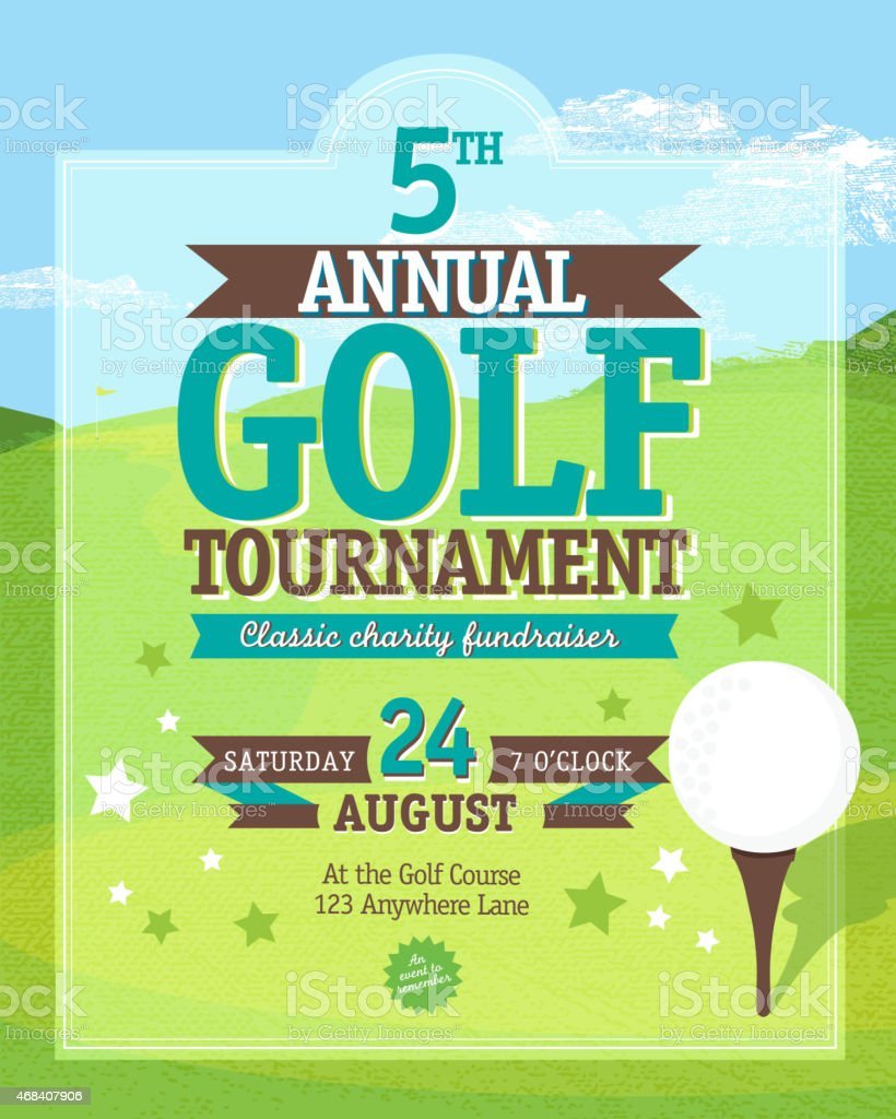 Cute Golf tournament invitation design template on golf green background vector art illustration