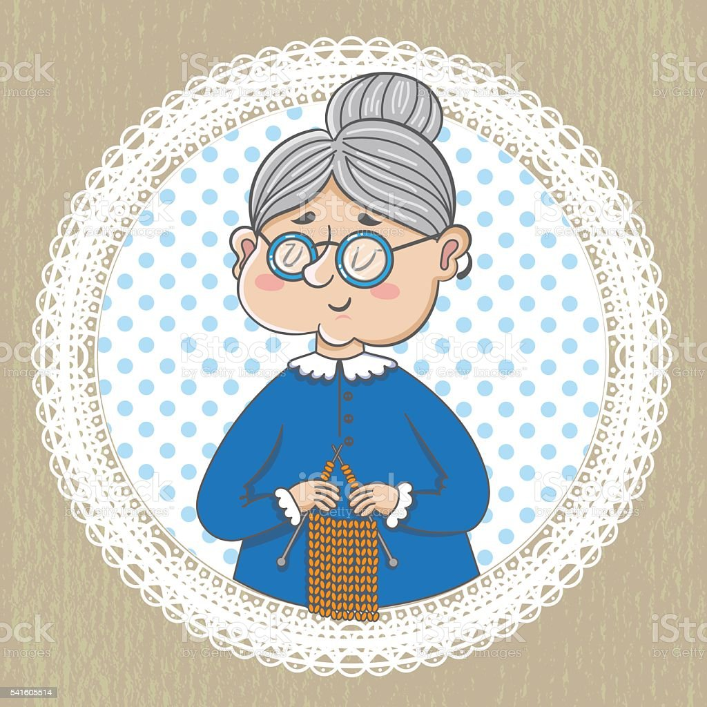 Cute grandmother with  knitting vector art illustration