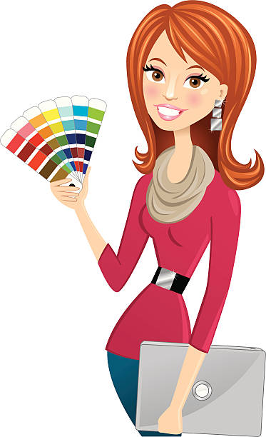 cute graphic or interior designer vector art illustration