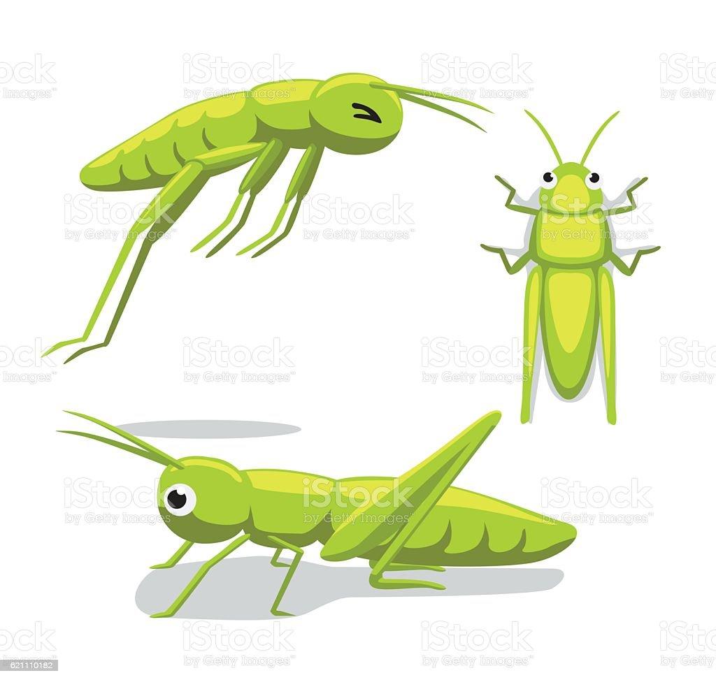 Cute Grasshopper Poses Cartoon Vector Illustration vector art illustration