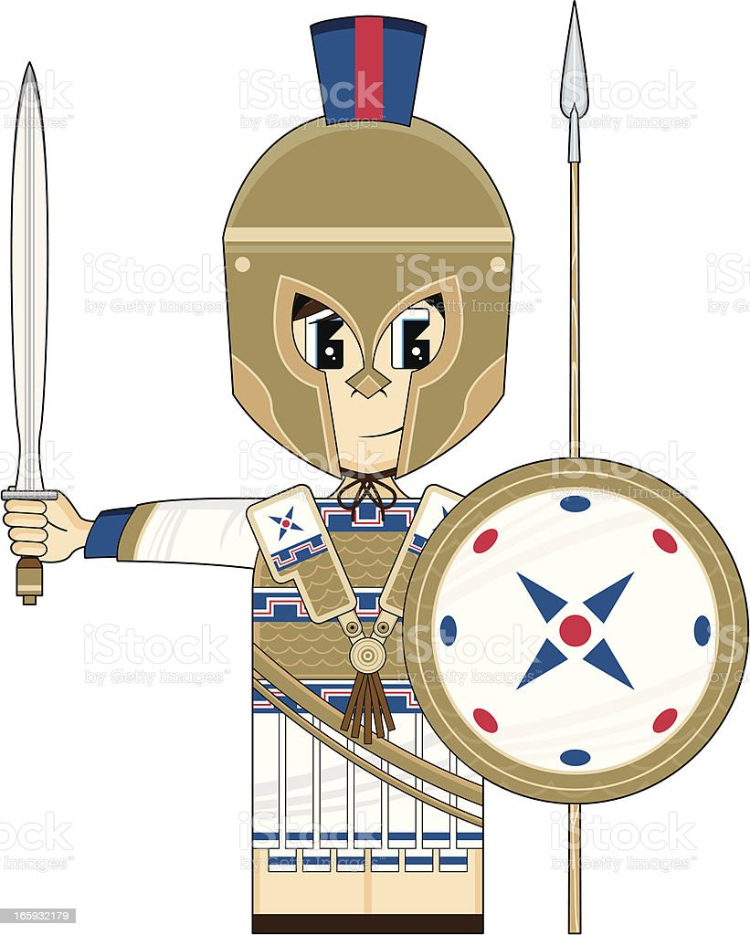 Cute Greek Hoplite Soldier vector art illustration