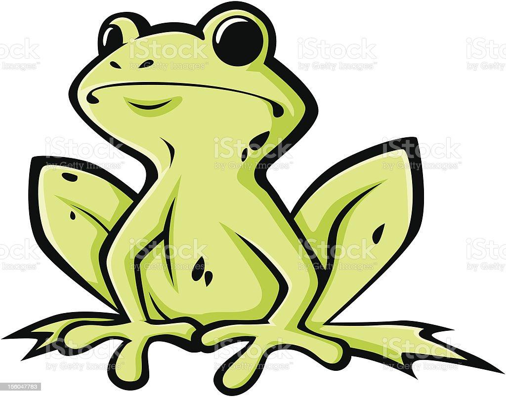Cute Green American Bullfrog Illustration royalty-free stock vector art