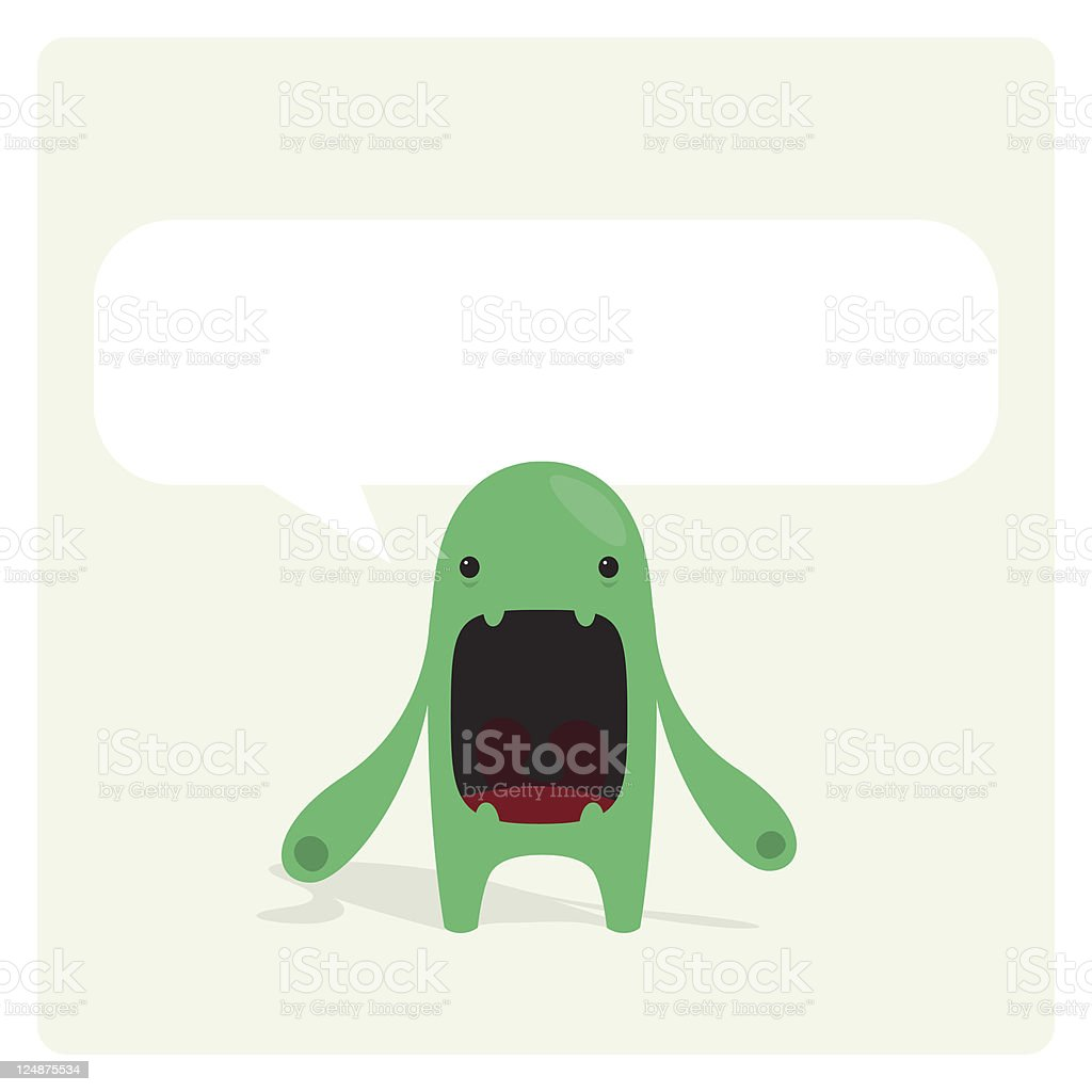 Cute Green Character Bored and Complaining vector art illustration
