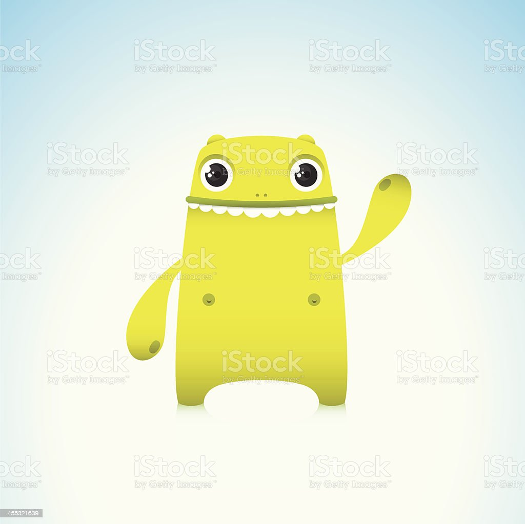 Cute Green Monster Character Waving With Smile royalty-free stock vector art