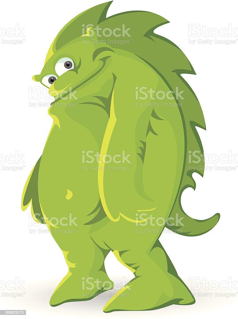 Cute Green Monster smiling royalty-free stock vector art