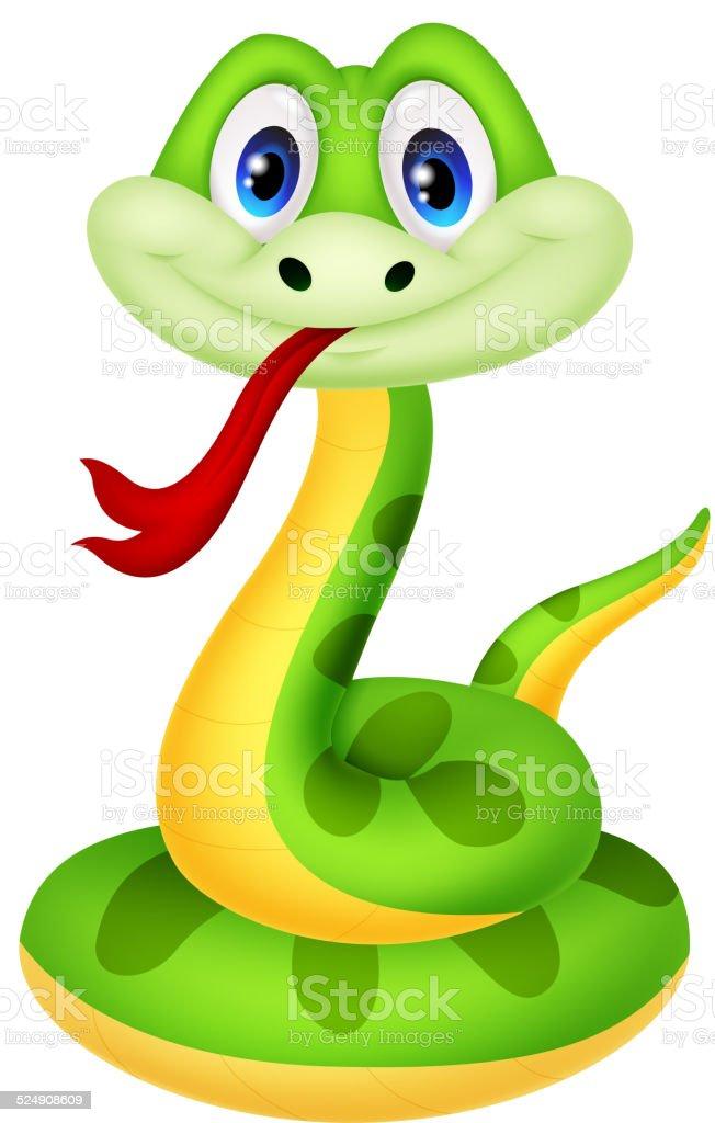Cute green snake cartoon vector art illustration