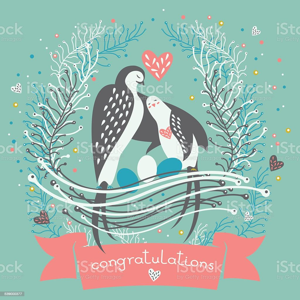 Cute greeting Birthday card or invitation in vector. vector art illustration