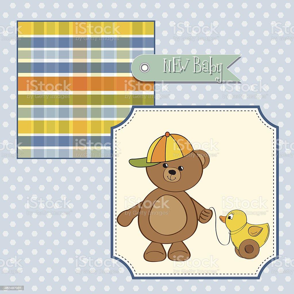 cute greeting card with boy teddy bear vector art illustration