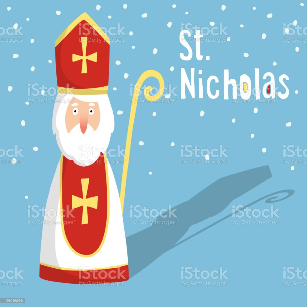 Cute greeting card with Saint Nicholas, vector vector art illustration