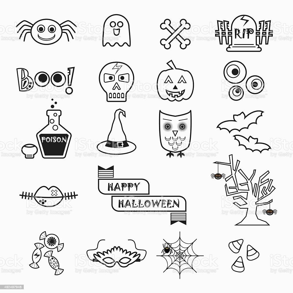 Cute Halloween black line icons set on white background vector art illustration