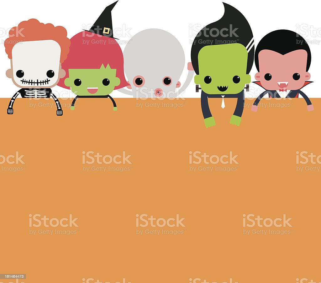 Cute halloween characters vector art illustration