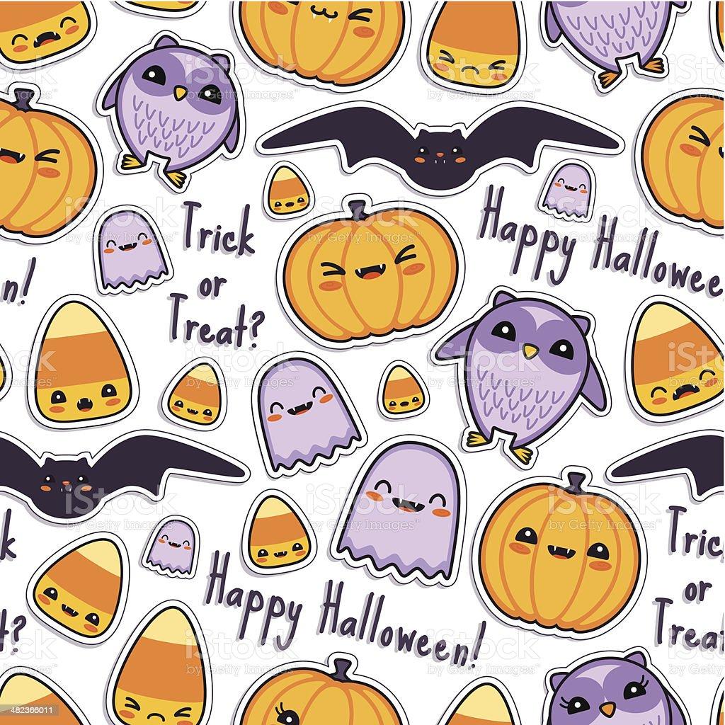Cute Halloween Kawaii Pattern Seamless royalty-free stock vector art