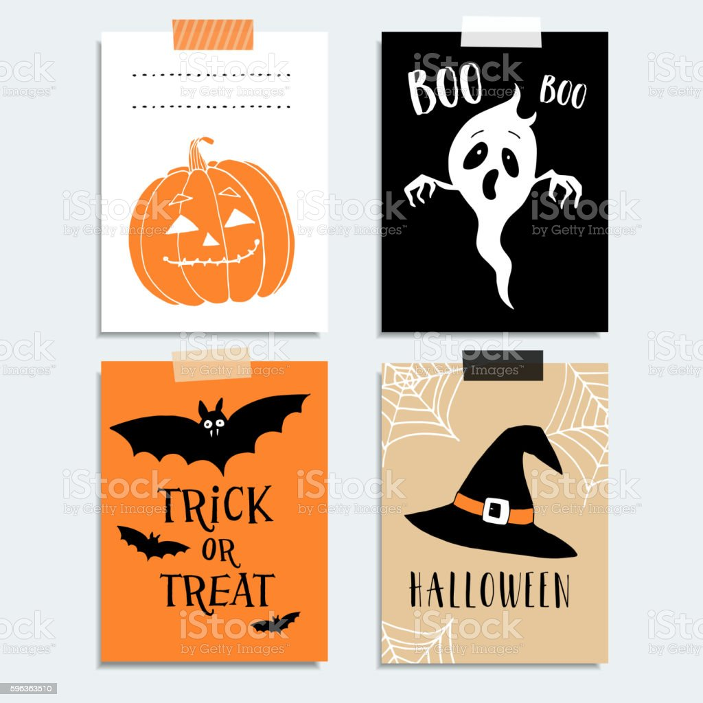 Cute Halloween party cards. Pumpkin, ghost, bat, witch hat. vector art illustration