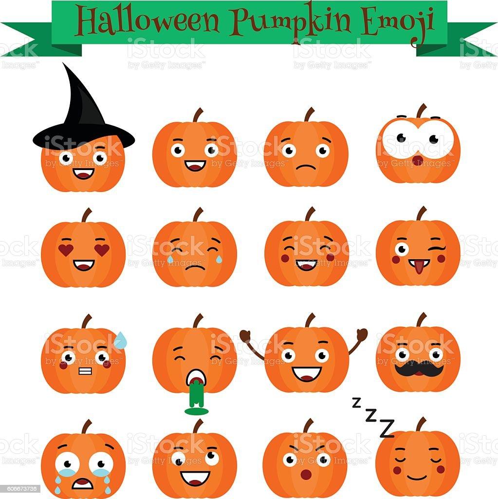Cute halloween pumpkin emoji set. Emoticons, stickers, design elemets vector art illustration