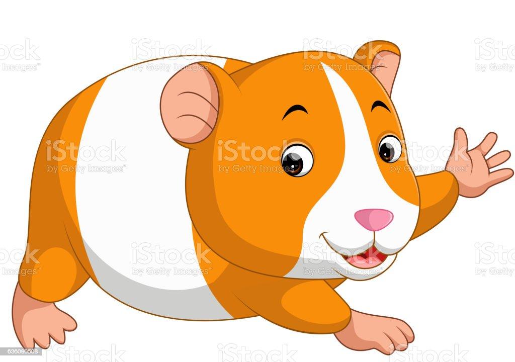 Cute hamster cartoon vector art illustration