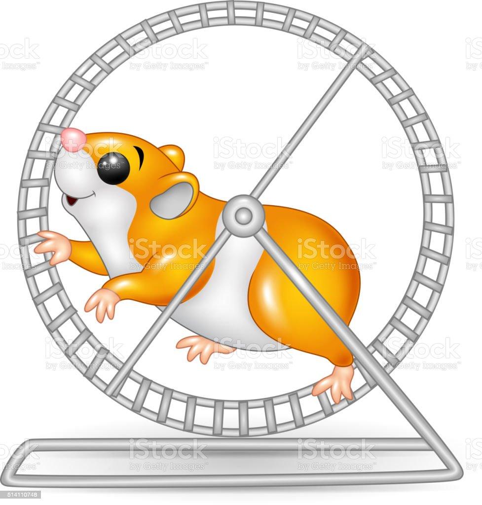 Cute hamster running in roling wheel vector art illustration