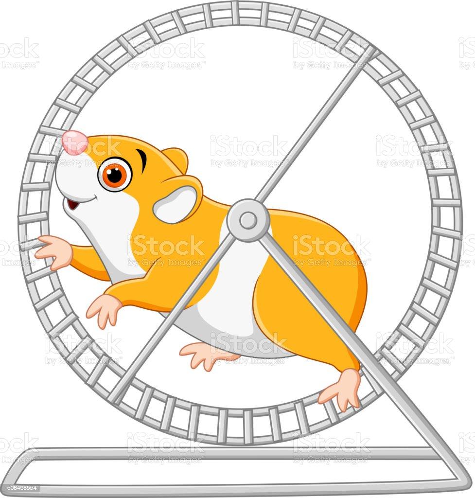 Cute hamster running in rolling wheel vector art illustration