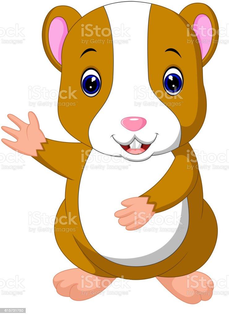 Cute hamster waving hand vector art illustration