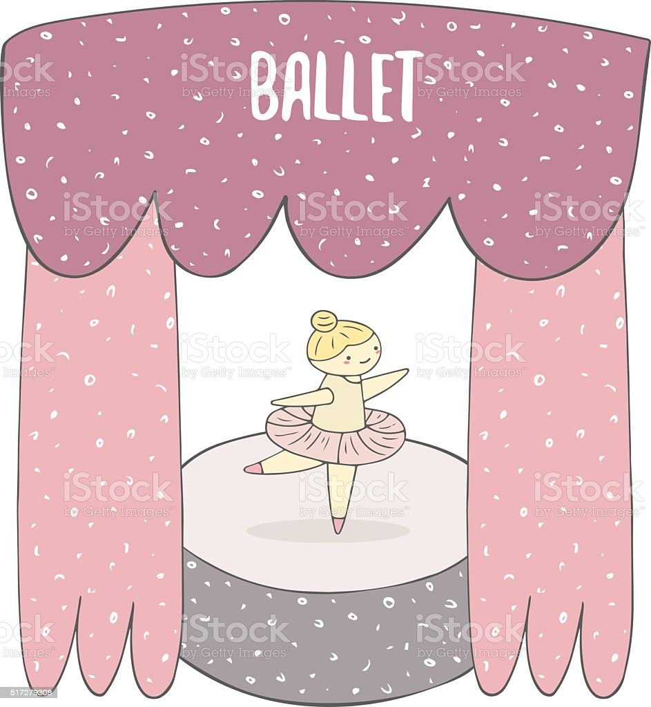 Cute hand drawn ballet girl on the stage. vector art illustration