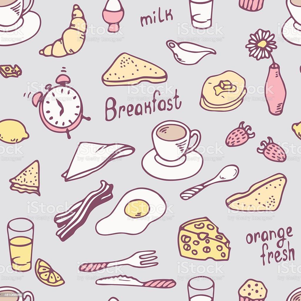 Cute hand drawn breakfast seamless pattern vector art illustration