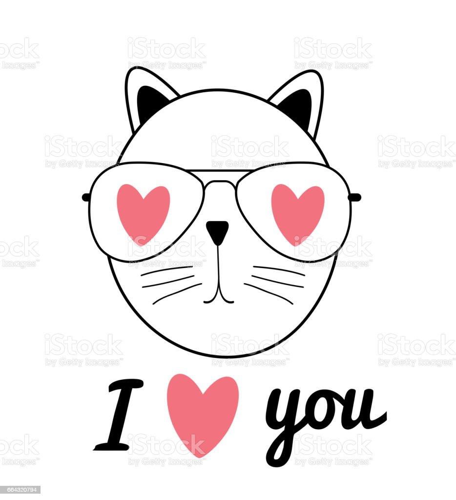 Cute Hand Drawn Cat Vector Illustration. I Love You Concept vector art illustration