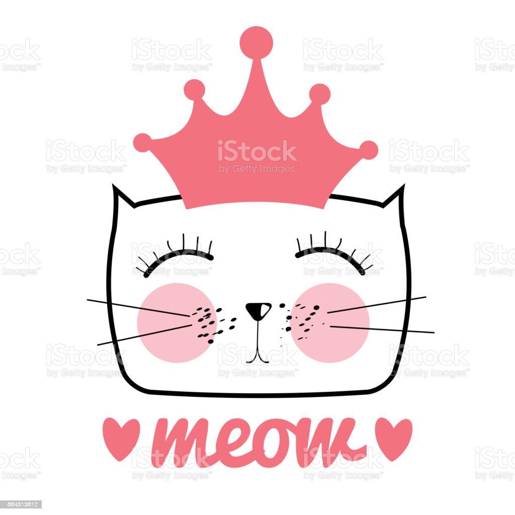 Cute Hand Drawn Cat Vector Illustration. Little Princess with Cr vector art illustration