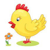 Cute hand drawn chick cock chicken yellow kids cartoon vector