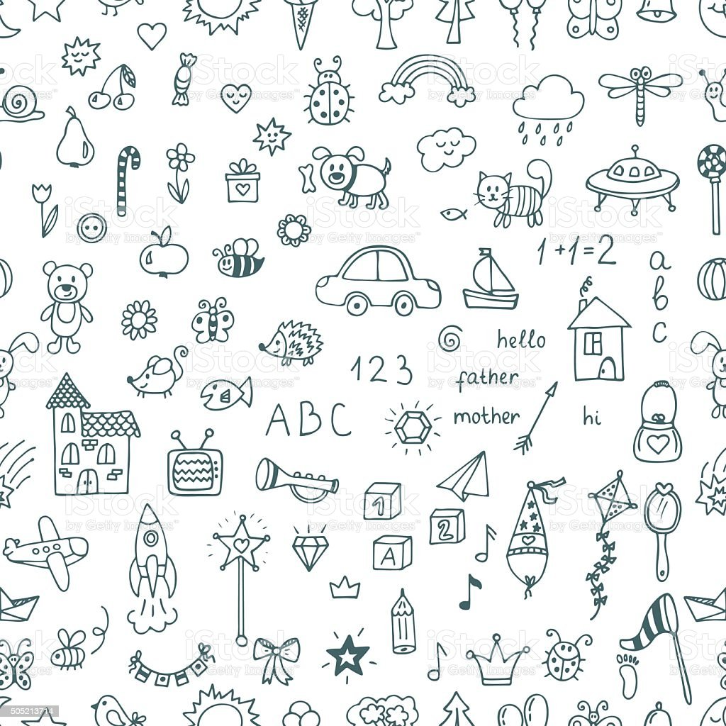 Cute hand drawn children drawings seamless pattern. Doodle vector art illustration