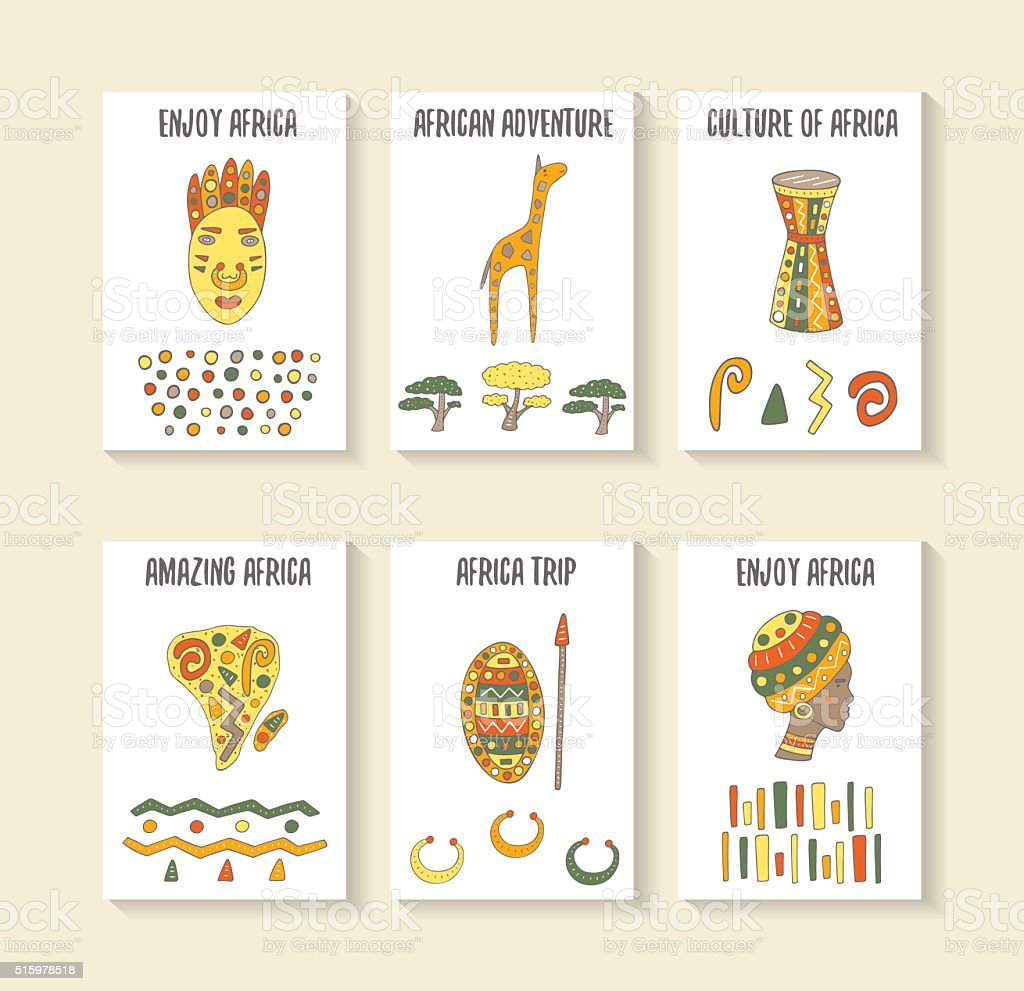 Cute hand drawn doodle africa theme cards vector art illustration