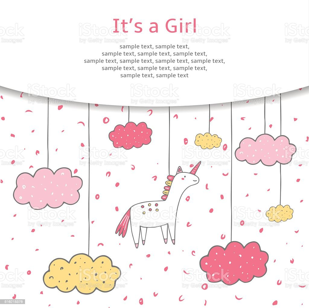 Cute hand drawn doodle baby shower cover vector art illustration