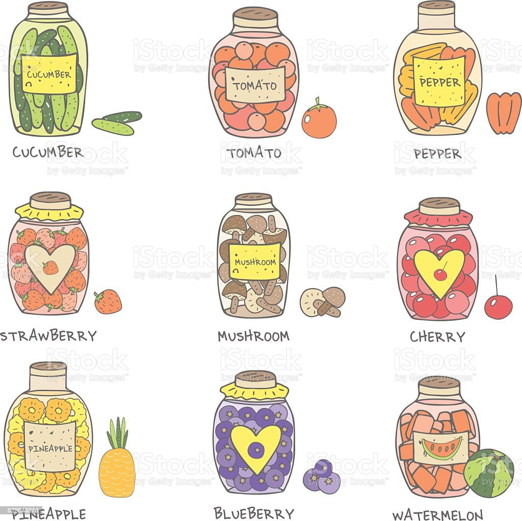 Cute hand drawn doodle jam and marinade jars collection vector art illustration