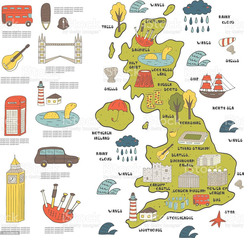 Cute hand drawn doodle map of England vector art illustration