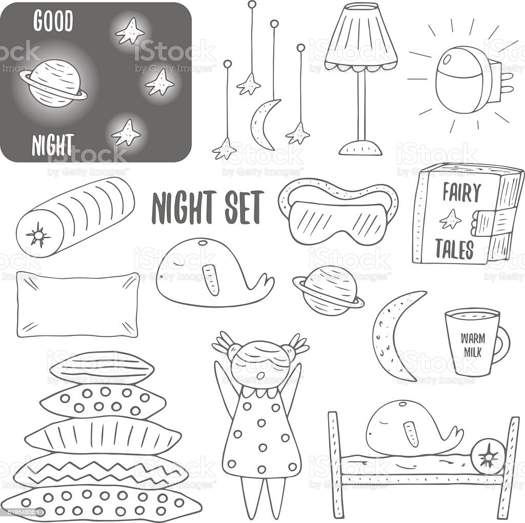 Cute hand drawn doodle night, sleep theme objects collection vector art illustration