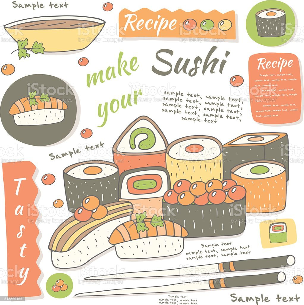 Cute hand drawn doodle sushi collection. vector art illustration