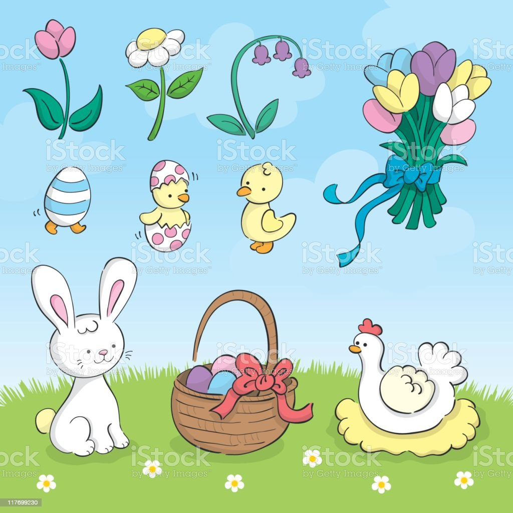 Cute hand drawn Easter set royalty-free stock vector art