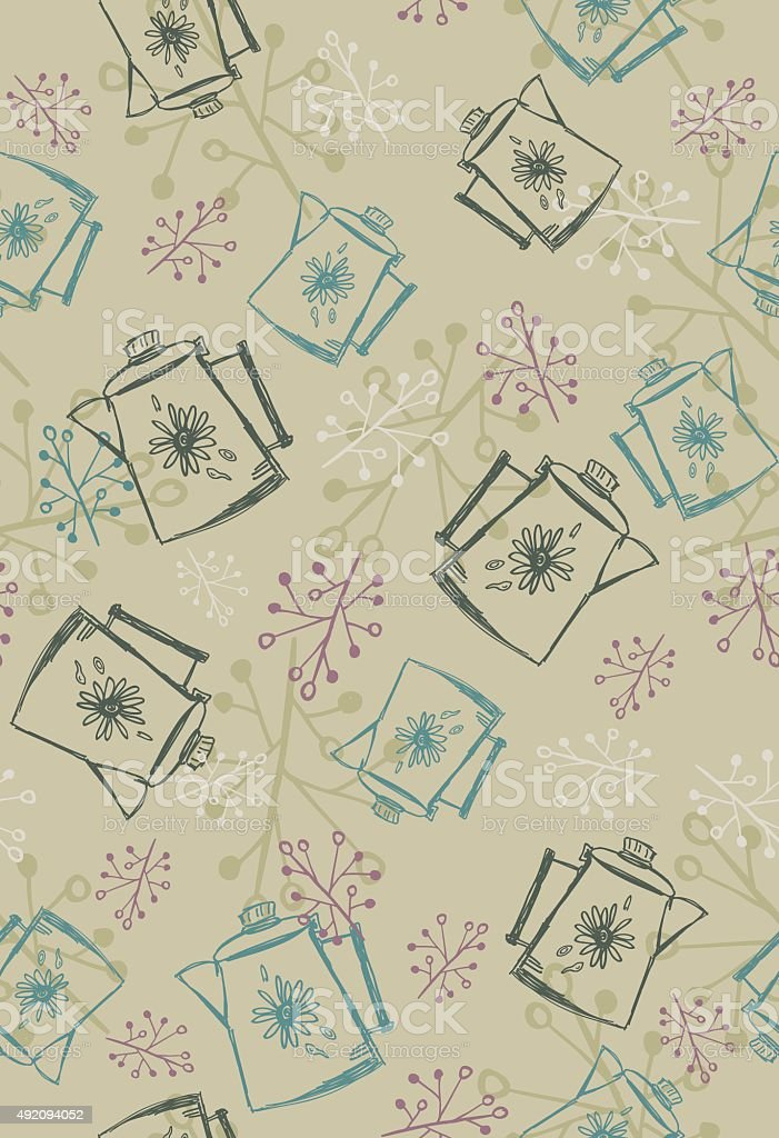Cute Hand Drawn kitschy Kitchen Seamless pattern vector art illustration