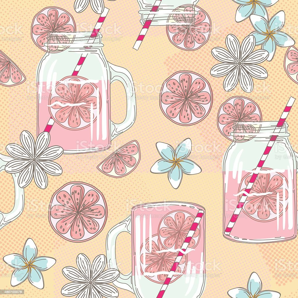 Cute Hand Drawn Lemonade Mason Jars And Summer Flowers vector art illustration