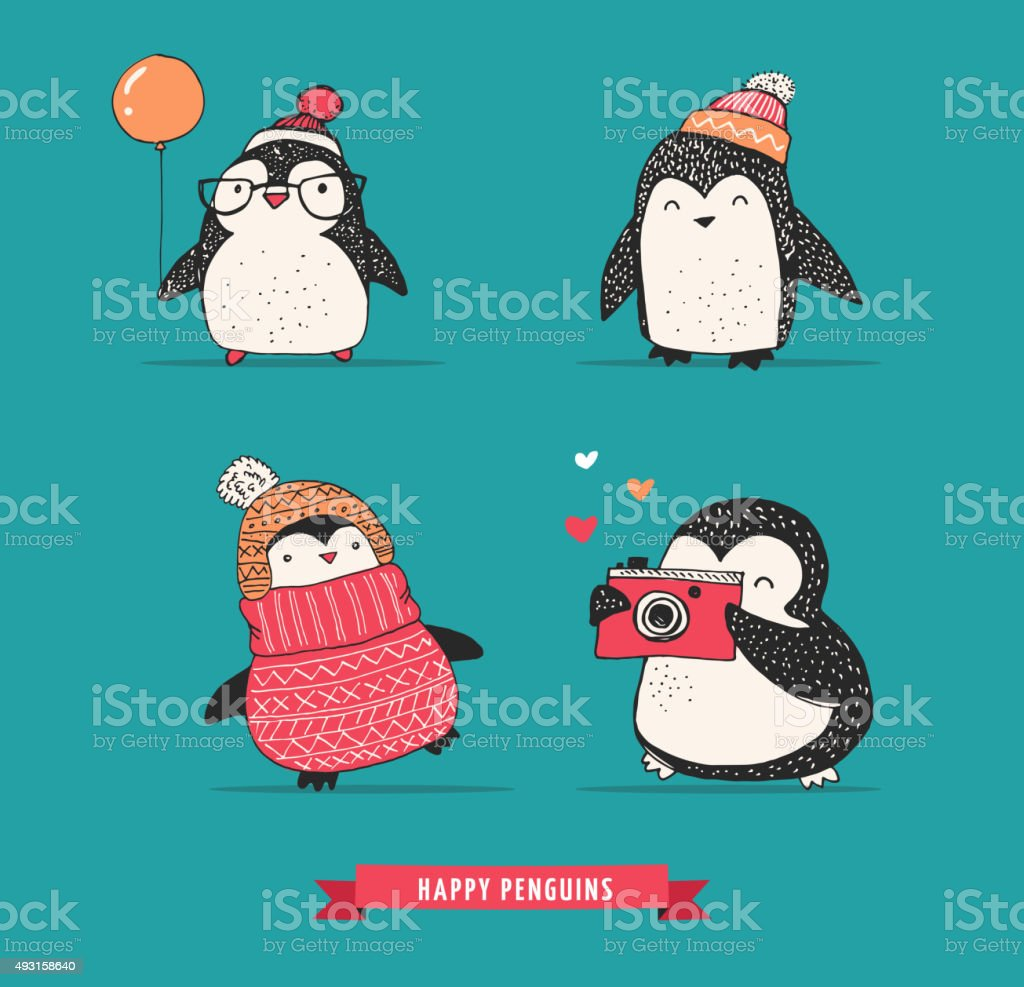 Cute hand drawn penguins set - Merry Christmas greetings vector art illustration
