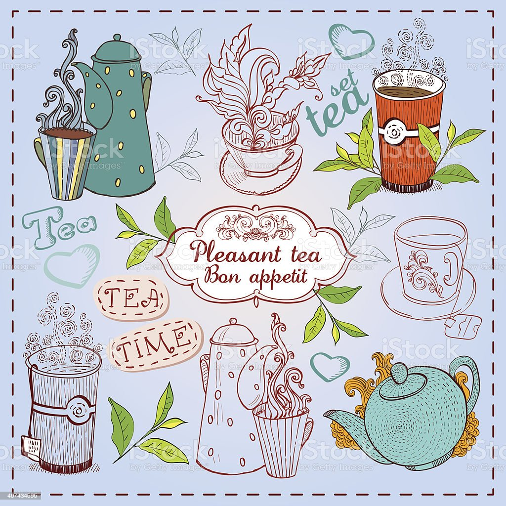 Cute hand drawn teapots, cups and cupcakes. vector art illustration