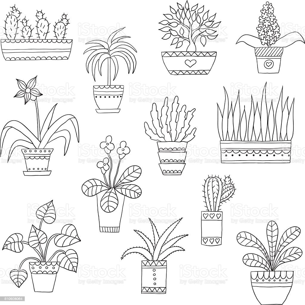 Cute hand drawn vector flowers in the pots vector art illustration