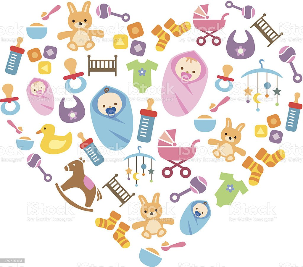 Cute Happy Babies Background vector art illustration