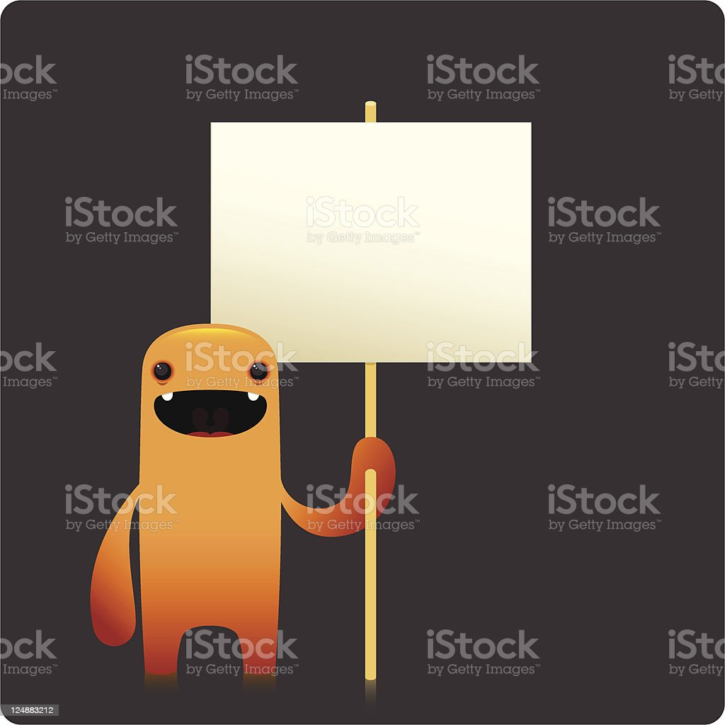 Cute Happy Character Holding Empty Placard royalty-free stock vector art