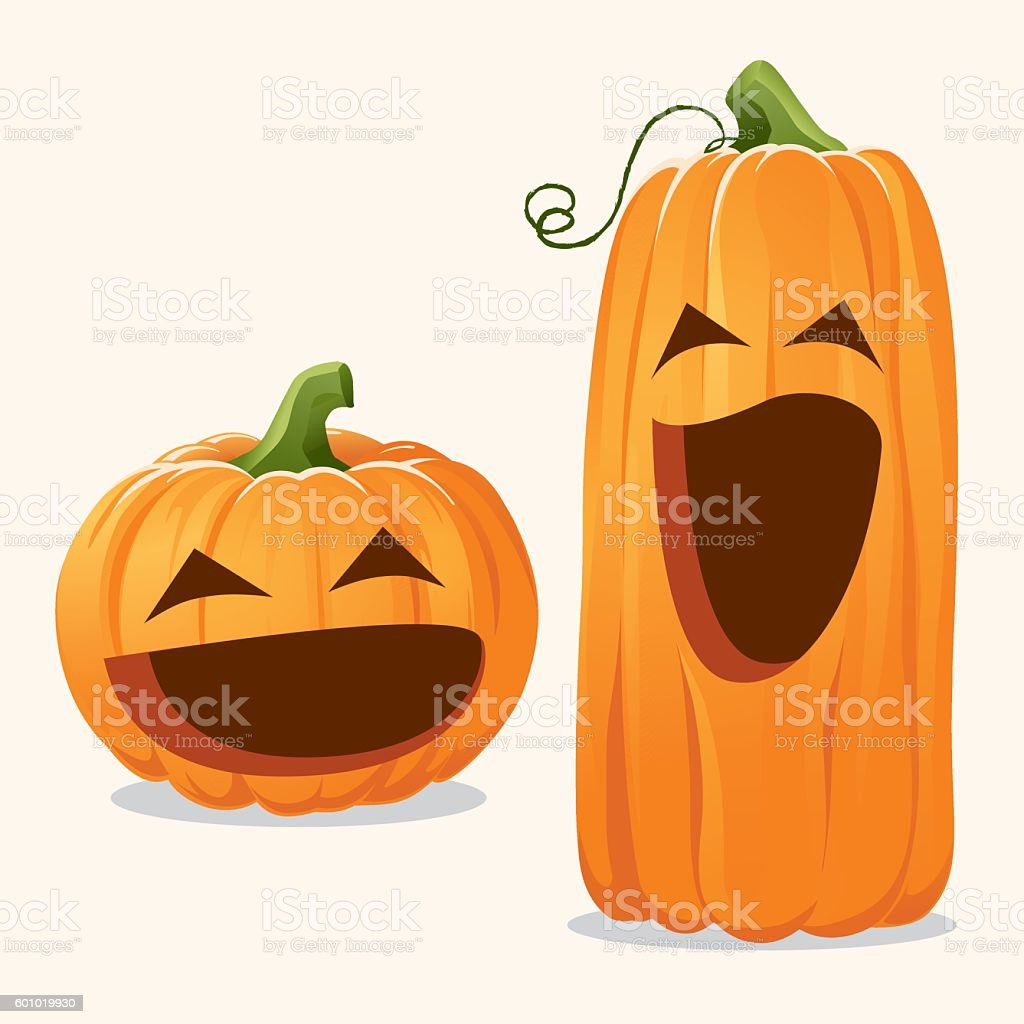 Cute Happy Pumpkins vector art illustration
