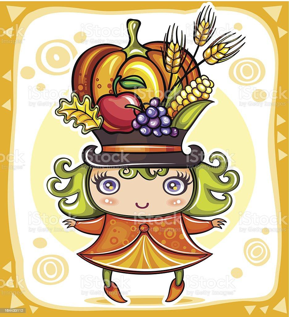 Cute Harvest girl royalty-free stock vector art