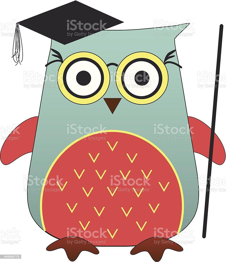 Cute Headmaster Owl vector art illustration