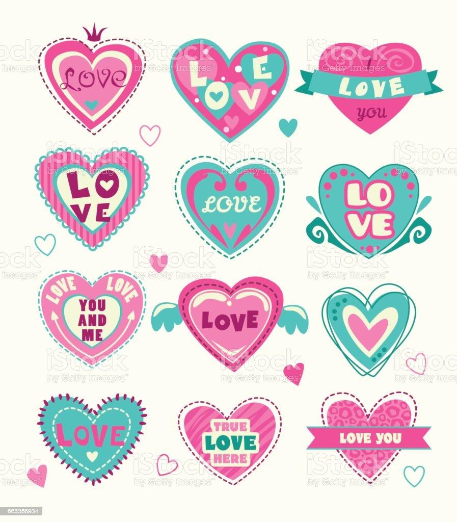 Cute heart shape labels set vector art illustration