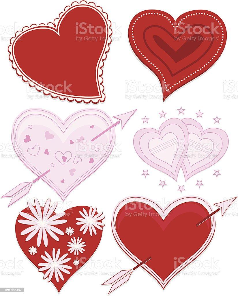 Süßen Herz-Design-Elemente Set-Sattes Rot, Pastel Pink Lizenzfreies vektor illustration