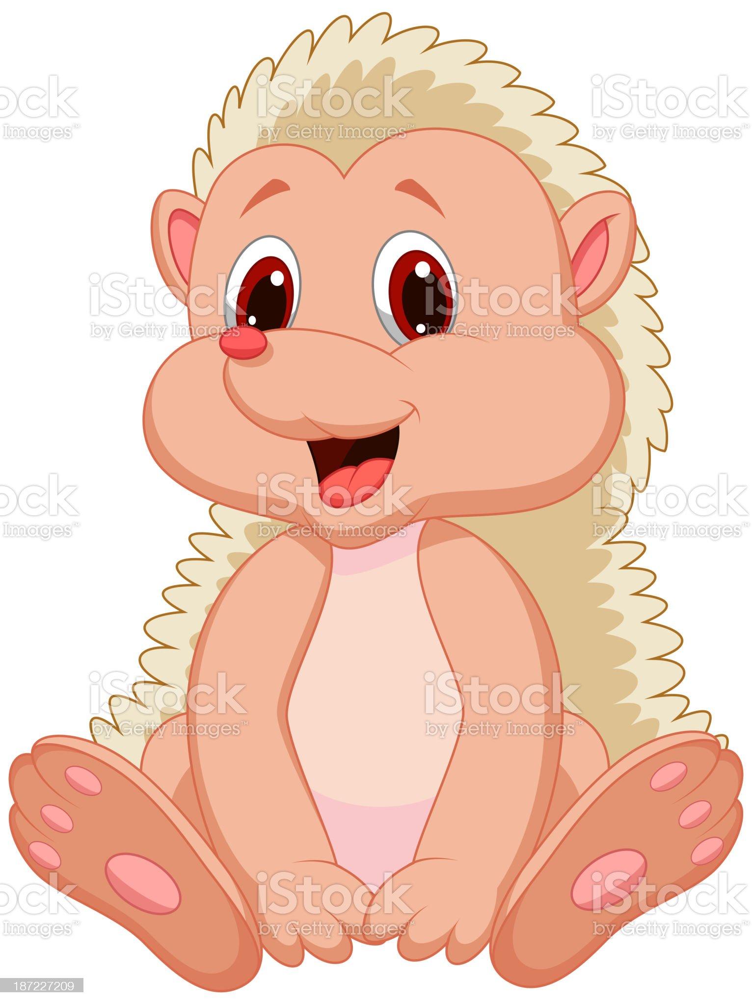 Cute hedgehog cartoon royalty-free stock vector art