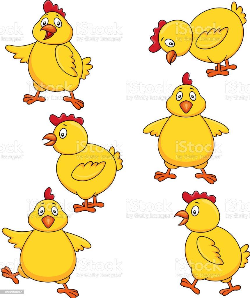 Cute hen cartoon set royalty-free stock vector art