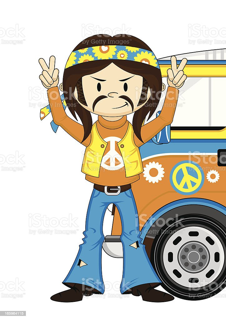 Cute Hippie Boy and Camper Van royalty-free stock vector art